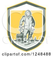 Clipart Of A Retro Fisherman With An Anchor Drum And Helm In A Shield Royalty Free Vector Illustration by patrimonio