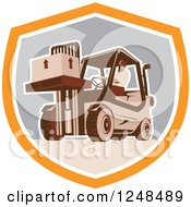 Retro Warehouse Worker Moving A Crate On A Forklift In A Shield