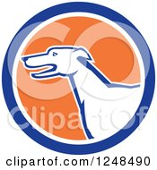 Clipart Of A Cartoon Greyhound Dog In Profile In A Circle Royalty Free Vector Illustration by patrimonio