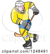 Clipart Of A Cartoon Male Hockey Player In Blue And Yellow Royalty Free Vector Illustration by patrimonio