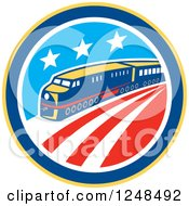 Clipart Of A Retro Diesel Train In An American Circle Royalty Free Vector Illustration by patrimonio