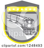 Clipart Of A Retro Steam Train In A Gray And Yellow Shield Royalty Free Vector Illustration by patrimonio