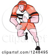Clipart Of A Cartoon Male Rugby Player Running Royalty Free Vector Illustration