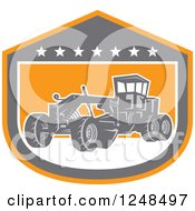 Clipart Of A Retro Road Grader Machine In A Shield Royalty Free Vector Illustration