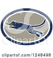 Clipart Of A Retro Leaping Panther In An Oval Royalty Free Vector Illustration