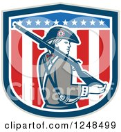 Clipart Of An American Patriot Minuteman With A Rifle Over A Shield Royalty Free Vector Illustration by patrimonio