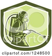 Clipart Of A Retro Woodcut Pest Control Exterminator Spraying In A Green Shield Royalty Free Vector Illustration