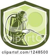 Retro Woodcut Pest Control Exterminator Spraying In A Green Shield