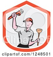 Clipart Of A Cartoon Male Plumber With A Plunger And Monkey Wrench Over A Shield Royalty Free Vector Illustration