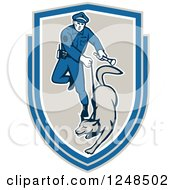 Clipart Of A Police Officer And K9 Unit Dog In A Shield Royalty Free Vector Illustration by patrimonio