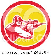 Clipart Of A Retro Woodcut Man Shooting A Rifle With A Telescope In A Circle Royalty Free Vector Illustration