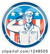 Clipart Of A Retro Woodcut Saluting Soldier In An American Circle Royalty Free Vector Illustration