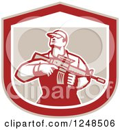 Clipart Of A Retro Male Soldier Holding A Rifle In A Shield Royalty Free Vector Illustration