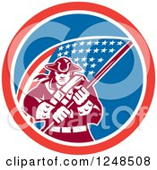 Clipart Of A Retro American Patriot Soldier And Flag In A Circle Royalty Free Vector Illustration
