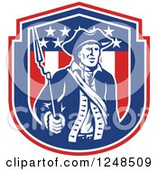 Clipart Of A Retro American Patriot Soldier With A Bayonet In A Shield Royalty Free Vector Illustration
