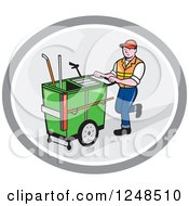Clipart Of A Cartoon Male Street Cleaner Worker Pushing A Cleaning Trolley Cart In An Oval Royalty Free Vector Illustration by patrimonio