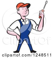 Clipart Of A Cartoon Male Handyman Mechanic Or Electrician Holding A Screwdriver Royalty Free Vector Illustration