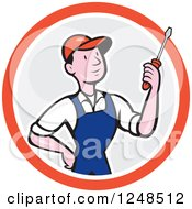 Clipart Of A Cartoon Male Handyman Mechanic Or Electrician Holding A Screwdriver In A Circle Royalty Free Vector Illustration