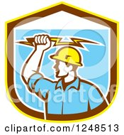 Retro Male Electrician Holding A Bolt Over A Shield