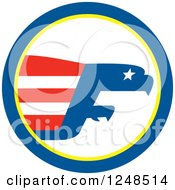 Clipart Of A Bald Eagle Abstract And Flag In A Circle Royalty Free Vector Illustration