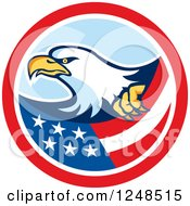 Clipart Of A Bald Eagle And Flag In A Circle Royalty Free Vector Illustration by patrimonio