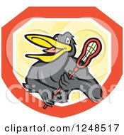 Clipart Of A Black Bird With A Lacrosse Stick In A Shield Royalty Free Vector Illustration