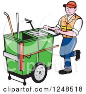 Clipart Of A Cartoon Male Street Cleaner Worker Pushing A Cleaning Trolley Cart Royalty Free Vector Illustration