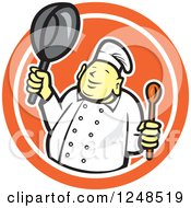 Clipart Of A Buddha Chef Holding A Spoon And Pan In A Circle Royalty Free Vector Illustration