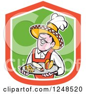 Clipart Of A Happy Male Mexican Chef Holding A Taco Burrito And Chips On A Platter Royalty Free Vector Illustration