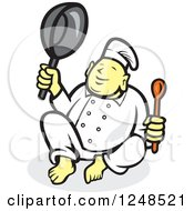 Clipart Of A Buddha Chef Holding A Spoon And Pan Royalty Free Vector Illustration