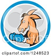 Clipart Of A Cartoon Democratic Donkey Boxing In A Circle Royalty Free Vector Illustration by patrimonio