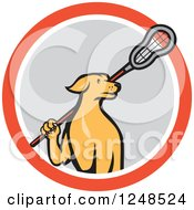 Clipart Of A Cartoon Golden Retriever Lacrosse Player Dog In A Circle Royalty Free Vector Illustration by patrimonio