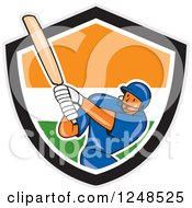 Clipart Of A Cartoon Cricket Player Man Batting In An Indian Shield Royalty Free Vector Illustration