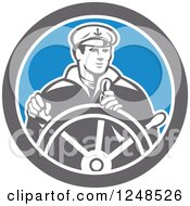 Clipart Of A Retro Fisherman Ship Captain Steering A Helm Royalty Free Vector Illustration by patrimonio