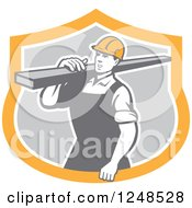 Clipart Of A Retro Construction Worker Carrying A Beam In A Shield Royalty Free Vector Illustration