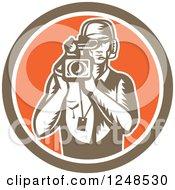 Retro Woodcut Camera Man In A Circle