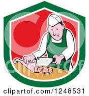 Clipart Of A Cartoon Butcher Chopping Up Leg Meat In A Shield Royalty Free Vector Illustration