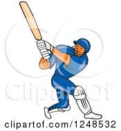 Clipart Of A Cartoon Cricket Player Man Batting Royalty Free Vector Illustration