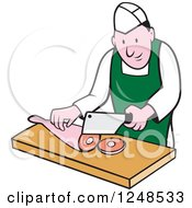 Clipart Of A Cartoon Butcher Chopping Up Leg Meat Royalty Free Vector Illustration by patrimonio
