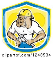 Clipart Of A Construction Worker Bulldog In A Shield Royalty Free Vector Illustration