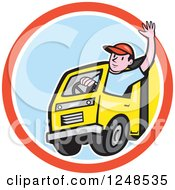 Clipart Of A Friendly Cartoon Delivery Truck Driver Waving In A Circle Royalty Free Vector Illustration