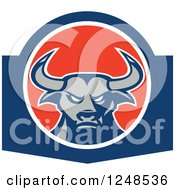 Clipart Of A Tough Bull In A Circle Royalty Free Vector Illustration