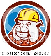 Clipart Of A Construction Worker Bulldog In A Circle Royalty Free Vector Illustration