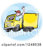 Clipart Of A Friendly Cartoon Delivery Truck Driver Waving In A Blue Circle Royalty Free Vector Illustration