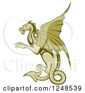Clipart Of A Green Dragon Flying Royalty Free Vector Illustration by patrimonio