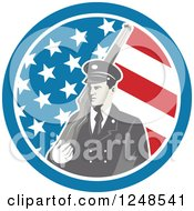 Clipart Of A Soldier With A Rifle Over His Shoulder In An American Flag Circle Royalty Free Vector Illustration