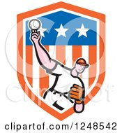 Clipart Of A Cartoon Male Baseball Player Pitching In A Stars And Stripes Shield Royalty Free Vector Illustration