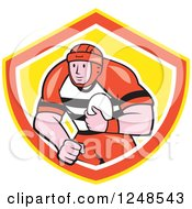 Clipart Of A Cartoon Male Rugby Player Running In A Shield Royalty Free Vector Illustration