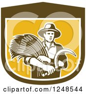 Clipart Of A Retro Male Wheat Farmer Holding A Scythe In A Shield Royalty Free Vector Illustration