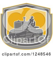 Clipart Of A Retro Farmer Operating A Tractor In A Shield Royalty Free Vector Illustration by patrimonio
